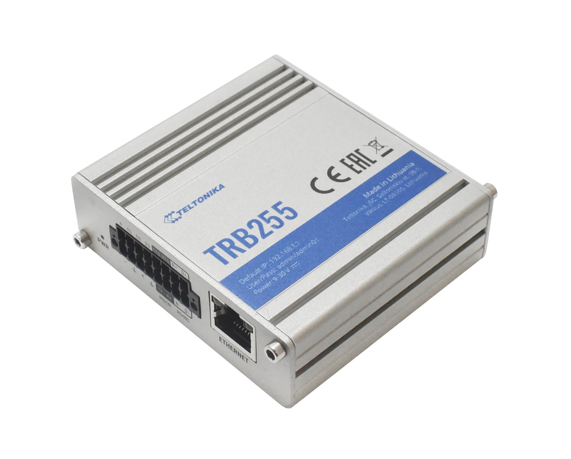 TRB255 – Gateway 4G/LTE (Cat M1), NB-IoT, 2G Ethernet, RS232/485/422, DIO y GPS